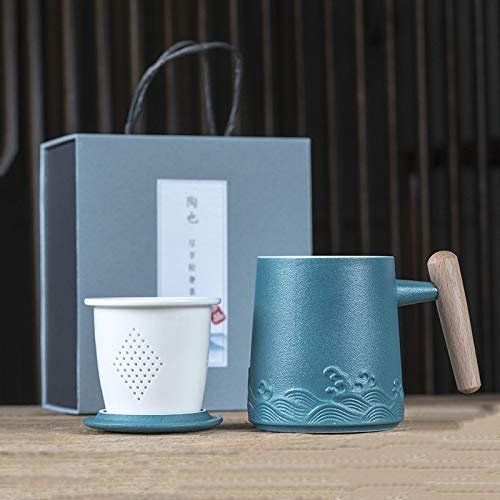 Heliansheng Taza de café de Moda Taza de Marca de cerámica con Malla de Filtro con Tapa Taza de té de separación de Agua de té -D261-301-400ml-G1016