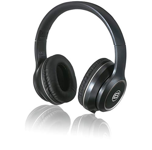 Bresser Kopfhörer Bluetooth Over-Ear-Headphone mit integrierten Mikrofon für Gaming oder Telefonie, 3.5 Klinkenanschluss und bis zu 8 Stunden Laufzeit, schwarz