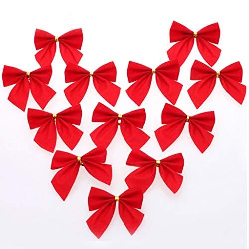 IHEHUA 12 lazos de oro rojo y plata para árbol de Navidad, decoración para Navidad, boda, fiesta, hogar, suministros de regalo, color rojo