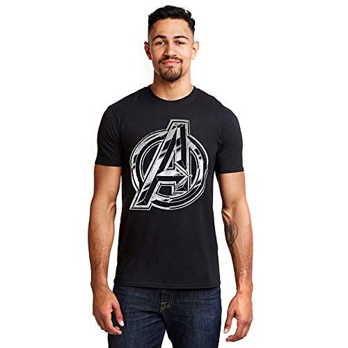 Marvel The Avengers Infinity Logo Camiseta, Negro (Black Blk), L para Homb