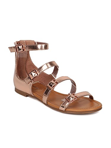 Women Metallic Leatherette Strappy Buckled Flat Sandal HA09 - Rose Gold Metallic (Size: 7.5)