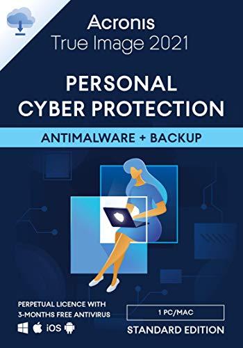Acronis True Image 2021 – Cyber protection personnelle | Sauvegarde et protection antivirus intégrées | Standard Perpetual Edition | 1 appareil | PC/Mac | Code d'activation - envoi par email