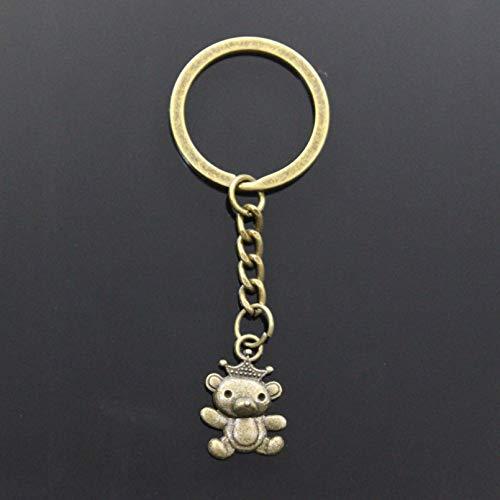 JLZK Fashion Keychain 22x16mm Koala Bear With Crown Pendants DIY Men Car Key Chain Ring Holder Souvenir For Gift