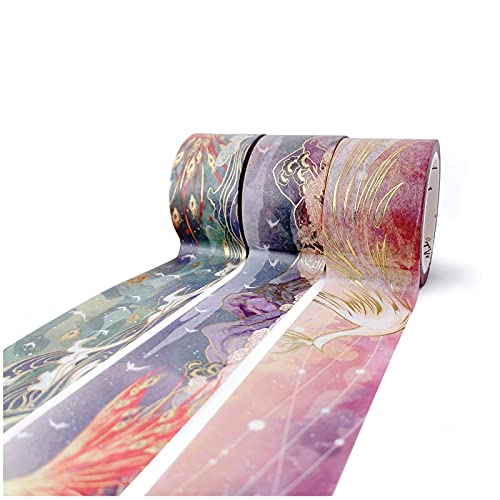 WT Phoenix Mythology Washi Tape Set, 3 Rolls, Original Designs, Gold Foiling, 30mm Wide Decorative Masking Tape, Bujo Planner Supplies, Craft Tape, Adhesive Wrapping Tape