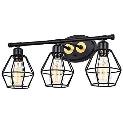Pauwer Industrial 3 Light Bathroom Vanity Light Metal Wire Cage Wall Sconce Farmhouse Vintage Bathroom Wall Light Fixtures for Bathroom Vanity Mirror