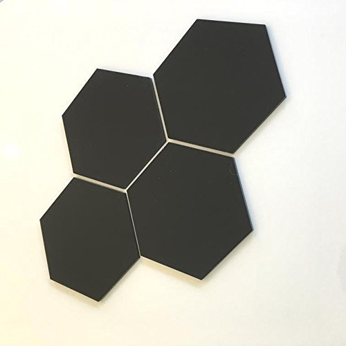Super Cool Creations Sechseck Fliesen Von - Schwarz, Pack of Ten - 18cm x 18cm