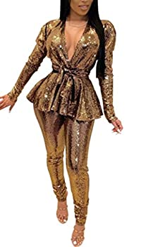 Two Piece Outfits for Women Glitter Sequins Jumper Open Front Jacket + Long Leggings Party Sets