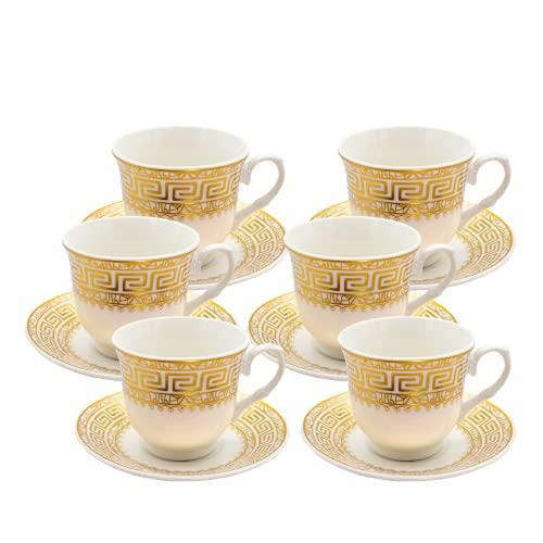 Alibabashop - Arabisches Mokkatassen-Set - Espressotassen mit goldenem Mäander Band- Mokkatasse orientalisches Design - Türkische Mokkatassen im 6er Set
