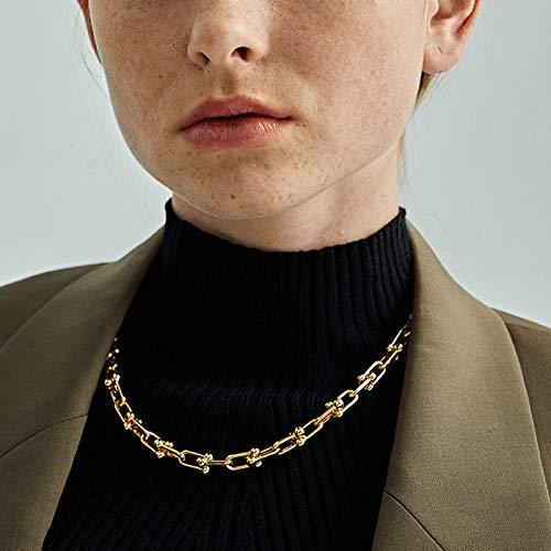 QiaoShiRen Anhänger Halsketten Mode Hiphop Street Style Chunky Metall U Form Link Kette Halsketten Für Frauen Pullover Gold Kette Halsketteklace Schmuck & Accessoires (Metal Color : Silver Bracelet)