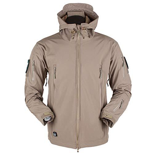 CIKRILAN Homme Outdoor Soft Shell Military Army Tactical Combat Vestes Manteaux Fleece Lined Sports Hoodie Windbreaker(XL, Khaki)