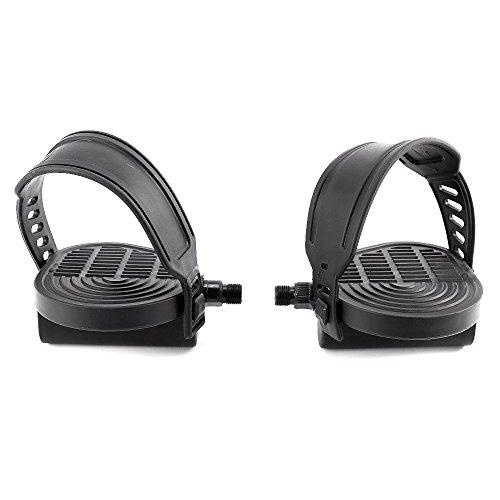 Surepromise Par de 9/16 Pulgadas 1/2 Pulgadas Rosca Pedales de Bicicleta Estática con Correa Ajustable Reemplazo Pedales para Bicicleta de Gimnasio (9/16 Pulgadas)