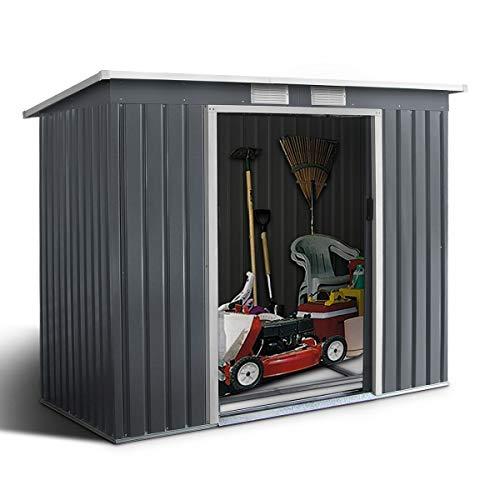 GOPLUS Gerätehaus Metall Schuppen Gartenhaus Geräteschuppen inkl. Metallfundament aus Stahl für Garten, grau und beige 213 x 130 x 173 cm