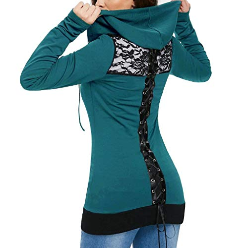 Sweat-Shirts pour Femmes Sweat à Capuche Arrêtez-Vous Bandage Lacer Retour Zip Up Hauts à Manches Longues Chemisier LianMengMVP
