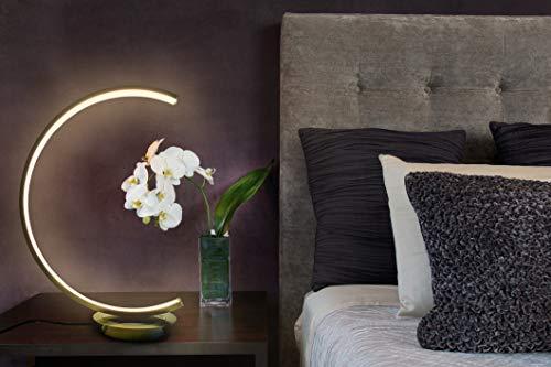 TRANGO 2019-01XXL Stufenlos dimmbar LED Lichtleiste, Schreibtischlampe in Nickel matt Halbrund *MOONLIGHT* Tischleuchte, Nachttisch Lampe incl. je 1x 12 Watt LED Modul 3000K warmweiß