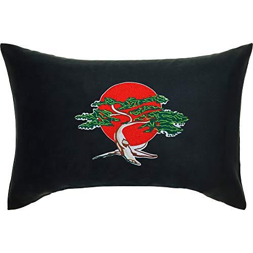 Cojín de Karatekid con Funda y diseño de 40 x 60 cm, para Karate, para niños, artículo para Fans de bonsái, árbol Cobra Kai japonés, cojín Decorativo con Relleno, Color Negro, cojín de sofá