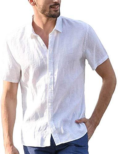 Carolilly Camisa de hombre de manga corta de lino de algodón con botones camisa de verano de color liso Slim Fit camisetas casual de playa hippie blanco L