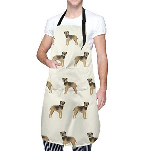 DAHALLAR Ajustable Colgante de Cuello Personalizado Delantal Impermeable,Border Terrier Perro Pie,Babero de Cocina Vestido para Hombres Mujeres con 2 Bolsillos Centrales