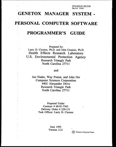 GeneTox Manager System:  Personal Computer Software Programmer's Guide (English Edition)