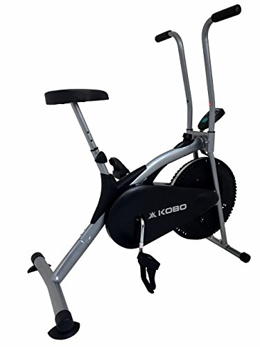 Kobo Imported AB-5 Air Bike Deluxe Exercise Cycle with Fixed Handle and Digital LCD Display Monitor