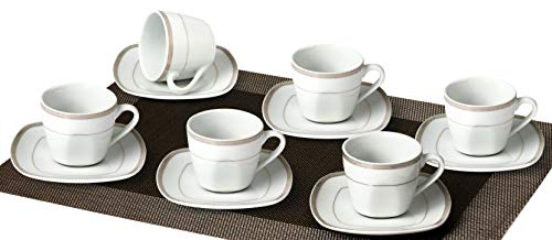 Topkapi Elizabeth TK-980-12-TLG Tee-/Kaffee-Set mit Gold/Platindekor~200 ml, Porzellan, für 6 Personen