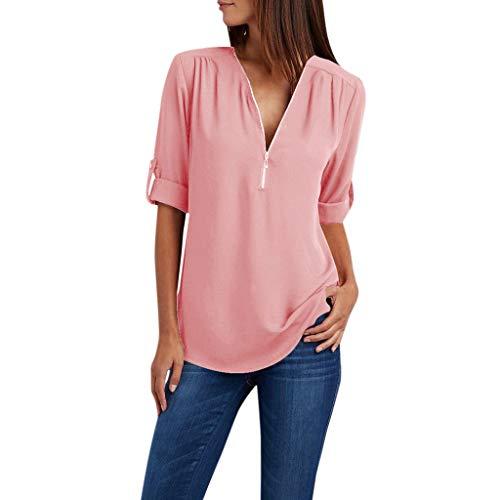 Zegeey Damen T-Shirt Oberteil Langarm ReißVerschluss Solide LöSen Chiffon Hemd Bluse Shirts Pullover Tunika(Rosa,46 DE/3XL CN)