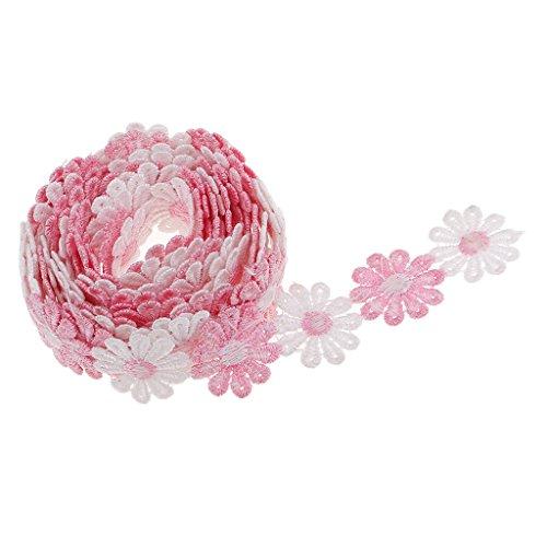 D DOLITY Daisy Blumen Stickerei Bänder Satinband Seidenbänder Schleifenband Hochzeit Dekoband Satin Geschenkband - Rosa Weiß