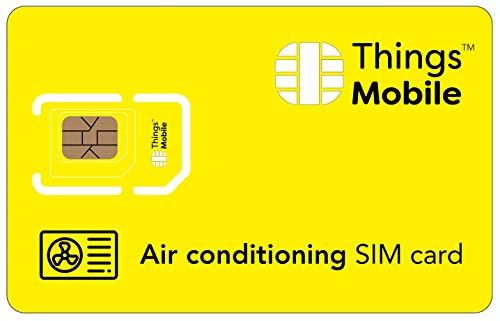 SIM-Karte für KLIMAANLAGE - Things Mobile - mit weltweiter Netzabdeckung und Mehrfachanbieternetz GSM/2G/3G/4G. Ohne Fixkosten, ohne Verfallsdatum. 10 € Guthaben inklusive
