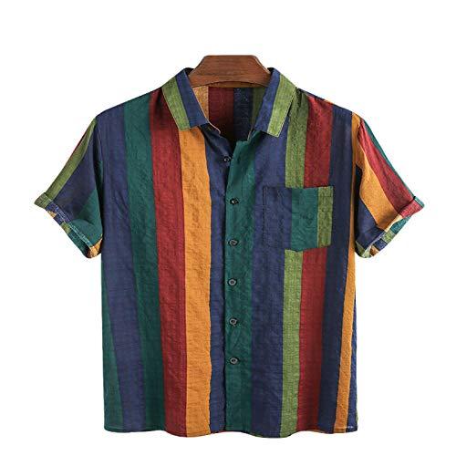 Camisa básica cómoda de Manga Corta de Manga Corta a Juego de Colores a Rayas para Hombre, Tendencia de Bolsillo con Costuras a la Moda, Simplicidad Informal M