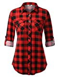 DJT Checked Shirts for Women,Long Sleeve Flannel Plaid Shirt X-Large Red Plaid