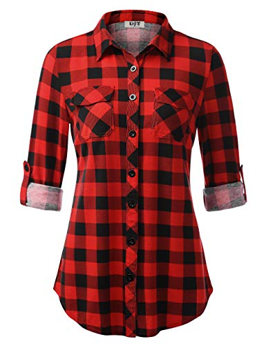 DJT Women's Button Down Plaid Shirt Roll up Long Sleeve Tops Large Red Plaid
