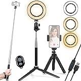 Luz de anillo para selfies 6 pulgadas con soporte trípode, teléfono y palo transmisión en vivo/fotografía/maquillaje, luz LED regulable 3 modos 10 niveles brillo TikTok/YouTube (actualizado)