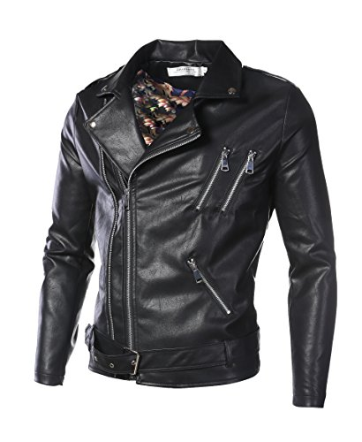 DAVID.ANN Men's Classic Faux-Leather Biker Zipper Jacket Coat,Black,Medium