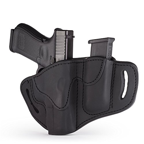 1791 GUNLEATHER Glock 19 Holster - Right Hand OWB G19 Leather Holster for Belts - Fits Glock 19, 23, 26, 27, H&K VP40 and Springfield XDS (BH2.1) (Combo Stealth Black)