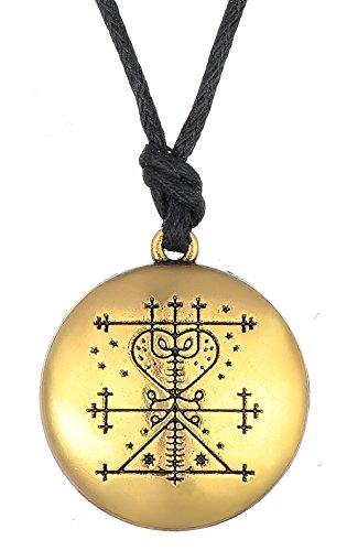 Dawapara Amuleto gótico vintage Maman Brigitte Voodoo Loa Veve, collar con colgante para mujer (oro antiguo)