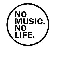 YLZH Creative Car Sticker No Music No Life Funny Car Sticker Vinyalデカール自動車のステッカースタイリング車の装飾15x15cm (Color Name : Black)