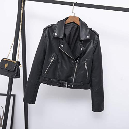 TIKEHAN Femmes Moto Veste en Cuir Manteau Mode col rabattu fermeture éclair Faux Pu Veste en Cuir Femme Printemps Automne vestes
