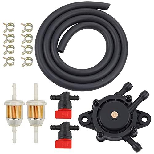 HIPA 24 393 16-S Fuel Pump 5-Feet Fuel Line for BS 808656 491922 John D LG808656 Honda 16700-Z0J-003 Kawasaki 49040-7001 Fuel Filter & Fuel Line Shut Off Valve for Cub Cad Poulan Lawn Mower Parts