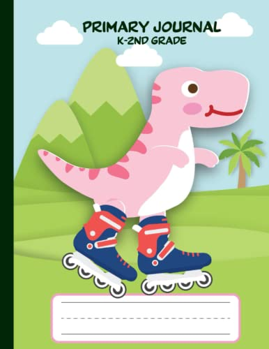 Dinosaur with Inline Skate Primary Story Journal Grades K-2: Primary Composition Notebook with Dotted Midline and Picture Space with Box, Handwriting ... Practice Paper for Kids (Boys and Girls)