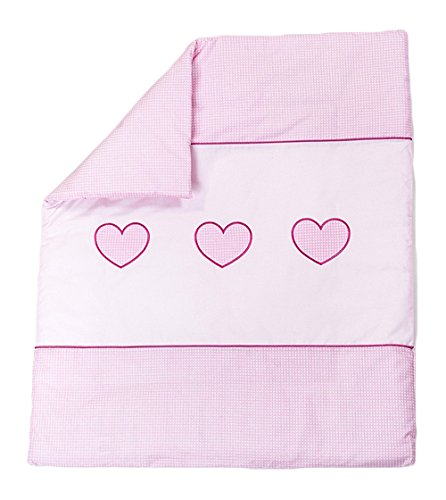 Courtepointe avec cœur brodé/couette Garnissage Convient pour berceau/landau – rose