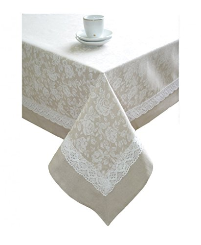 """Provence Cotton Floral Tablecloth with Lace in French Country Style for Kitchen, Dining Room, Rectangle 55"""" x 87"""", White Rose"""