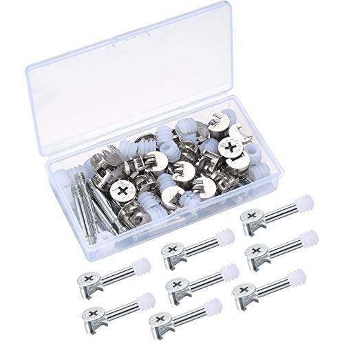 20 Sets Furniture Connection Fittings Kit, 3-in-1 Furniture Connector Fixing Screw with Locking Cam Fitting, Dowel Screws, Pre-Inserted Nut for Furniture, Cabinet, Connecting, Wardrobe