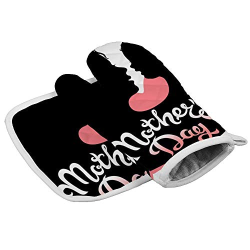 N/R Gelukkig Moederdag Moeder En Baby Knuffel Hittebestendige Keuken Oven Mitts en Pot Houders Magnetron Handschoenen voor Bakken Koken Grilling BBQ