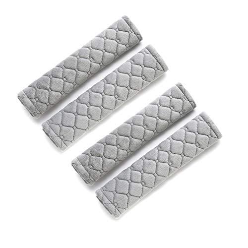Almohadillas para Cinturón de Seguridad,4 Piezas Protector Cinturon Coche,Material de Gamuza Suave Y Cómoda para Proteger Su Cuello Y Hombros (Gray)