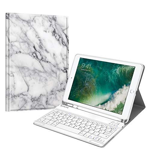 Fintie Tastatur Hülle für iPad 9.7 2018 (6. Generation), Soft TPU Rückseite Gehäuse Keyboard Case mit eingebautem Pencil Halter, magnetisch Abnehmbarer QWERTZ Bluetooth Tastatur, Marmor Weiß