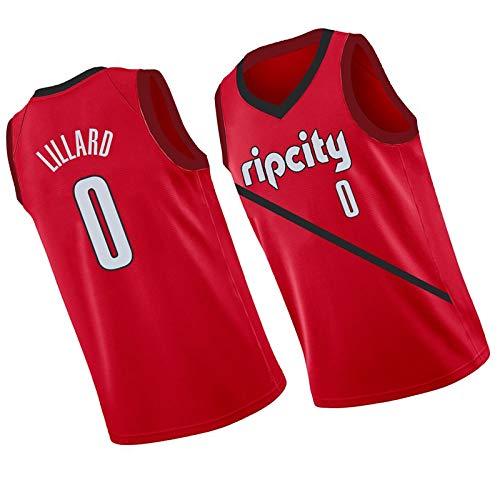 LZZQMR 2021 Men's City Basketball Jersey Adecuado para Blazers # 0 Lillard Swingman Jersey, Chaleco de Malla de Bordado de poliéster, Camiseta Transpirable Red-XXL