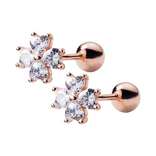 20G Cartilage Tragus Helix Stud Earrings Sterling Silver Rose Gold Dainty CZ Cubic Zirconia Crystal Flower Barbell Labret Studs Ear Piercing Christmas Gifts Fashion Jewelry for Women Girls