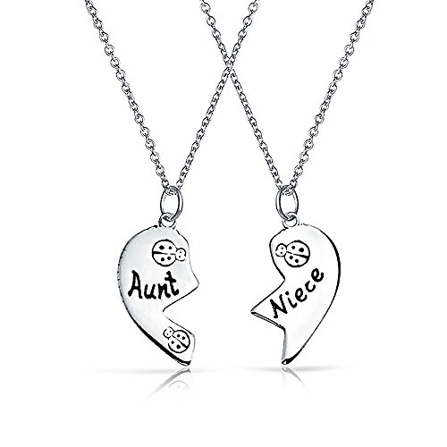 2 PCS Best Friend Aunt Niece Split Broken Puzzle Heart Break Apart Pendant...