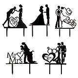 soimiss 5 pezzi mr & mrs cake toppers torta nuziale raccoglie sposa sposo sagoma segno decorazione torta per fidanzamento nero