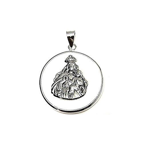 Colgante plata ley 925m 40mm. medalla Virgen Carmen cerco [AA8326]