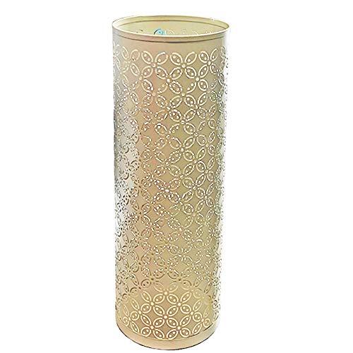 Acan - Paragüero metálico redondo, soporte para paraguas cilíndrico de hierro. Ideal tanto para el hogar como para espacios públicos (Marfil, 15 x 42 cm)